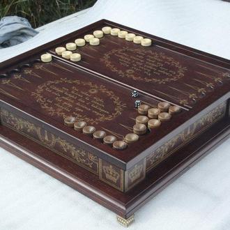 Шахматы, шашки, нарды бокс темный 3 в 1