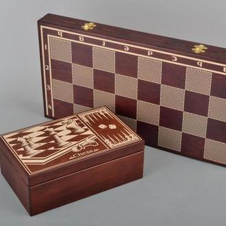 Шахматы, нарды, шашки с коробкой для фигур