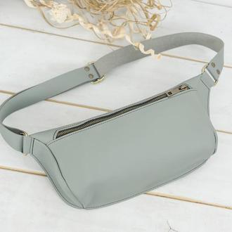 """Женская кожаная сумка """"модель №56 мини"""", кожа Grand, цвет серый"""