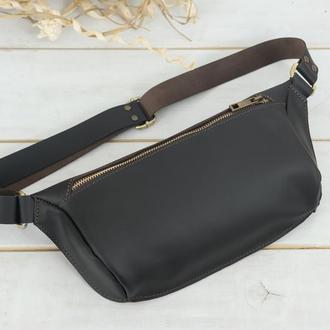 """Женская кожаная сумка """"модель №56 мини"""", кожа Grand, цвет шоколад"""