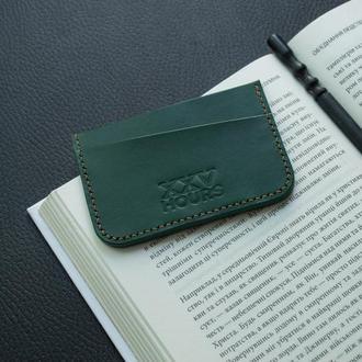 Кожаный кошелёк картхолдер (Зеленый)