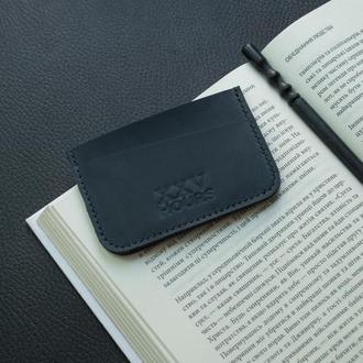 Шкіряний гаманець картхолдер (синій) Junior
