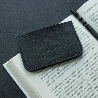 Шкіряний гаманець картхолдер (чорний) флотар