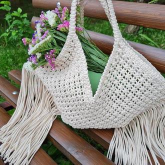 Макраме сумка, Плетеная сумка, Сумка макраме, Бохо сумка, Сумка с бахромой, Летняя сумка