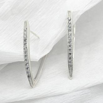 Серебряные серьги прищепки