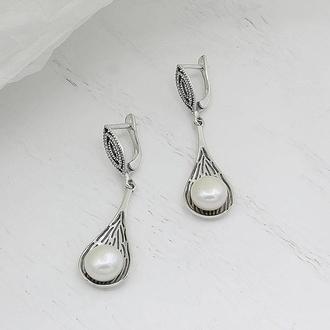 Серебряные серьги с жемчугом Авокадо