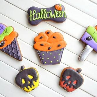 """Набор №4 к Хеллоуину """"что-То не так с этой едой"""", пряники на Хэллоуин, пряники на заказ"""