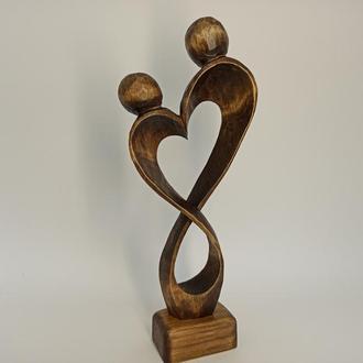 Скульптура жінки з чоловіком, статуетка з дерева, сувеніри з дерева, подарунок коханій людині, декор