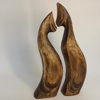 Скульптура двох котів 18 см, різьблені статуетки з дерева, коти з дерева, декори