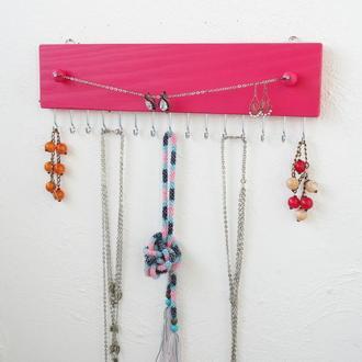 Розовый органайзер бижутерии - вешалка для украшений