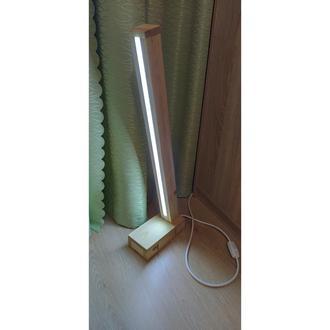 Торшер напольный LED светильник лампа ночная деревянная