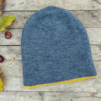 Двойная вязаная шапка-бини