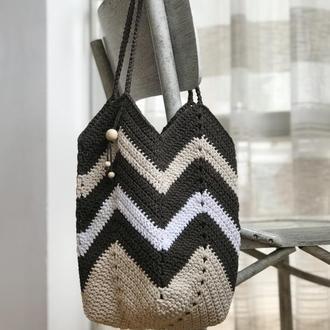 Сумка Магнолія Лілія Монголія Зигзаг еко-сумка торба шопер пляжна сумка в'язана гачком бавовна котон