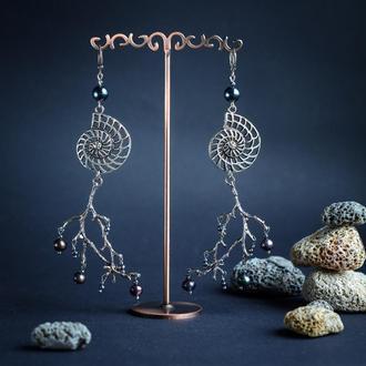 """Авторские серьги с натуральным черным жемчугом в серебре """"Спираль Вселенной"""""""