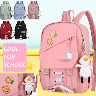 Школьный подростковый рюкзак со шнуровкой и значками для девочки, игрушка в подарок,6 цветов