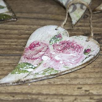 Деревянное сердечко «Vintage roses»