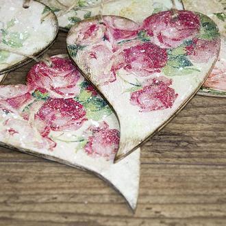 Деревянное сердечко «Roses in my heart»