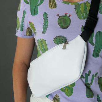 """Женская кожаная сумка """"модель №60"""", гладкая кожа, цвет белый"""