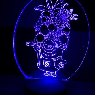 Миньон с фруктами, ночник, светильник, LED лампа, игрушка, в детскую, подарок ребенку, миньоны