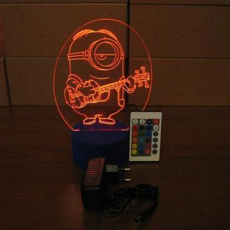 Миньон-гитарист, ночник, LED лампа, светильник акриловый, миньоны, игрушка, несколько подсветок