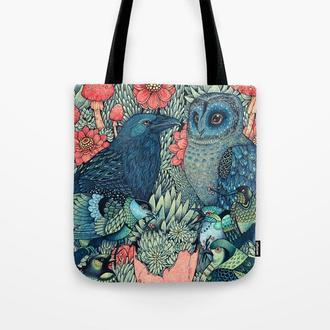 Повседневная сумка Сова и Ворон. Стильная сумка из ткани, тряпичная сумка. Молодежная летняя сумка