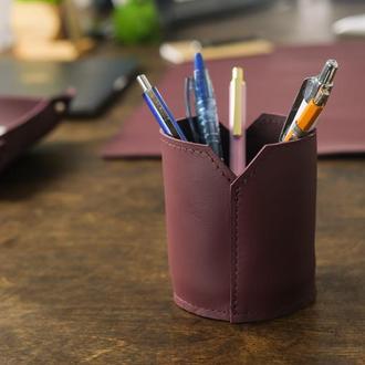 Кожаный стакан для ручек и карандашей, кожа Grand, цвет бордо