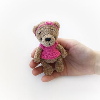Плюшевый мишка тедди в платье мягкая игрушка медведь