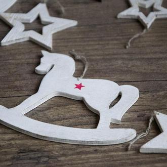 Новогодняя игрушка Wooden Rocking horse art 0196