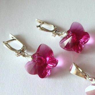 Детские серебряные, розовые серьги бабочки с кристаллами Swarovski