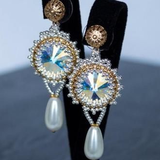 Серьги позолота серебро 925 с кристаллами Swarovski Aurore Boreale и жемчугом