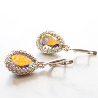 Серебряные серьги капли 925 пробы с кристаллами Swarovski Aurore Boreale