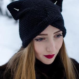Чорна шапка чалма з вушками, напівшерсть