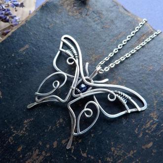 Срібний кулон метелик з сапфіром
