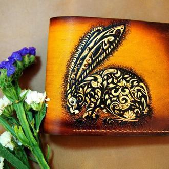 Женский  кошелек Кролик, женское портмоне, светлый кошелек, маленький кошелек