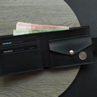Кожаный кошелек (Черный) Pointer с карманом под мелочь