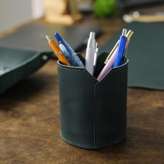 Кожаный стакан для ручек и карандашей, кожа Grand, цвет зеленый