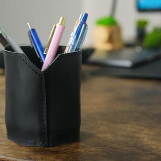 Кожаный стакан для ручек и карандашей, кожа Grand, цвет черный
