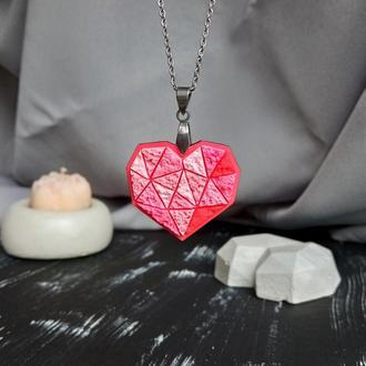 Полігональна підвіска Серце для коханої, або закоханої. Геометричний кулон Сердечко для дівчини