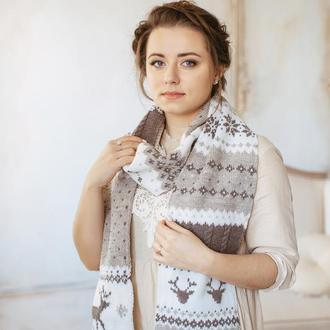 Вязаный шарф с оленями ( беж )