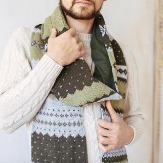 Вязаный шарф с оленями
