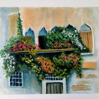 "Картина маслом ""Цветущий балкон"" 30х40 см."