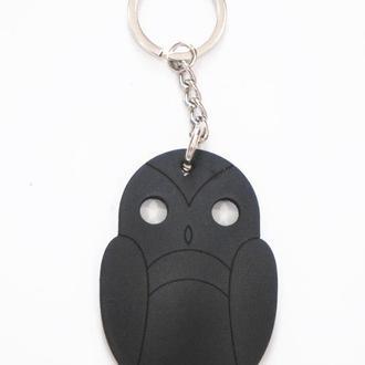Кожаный черный брелок для ключей Сова от мастерской Wild