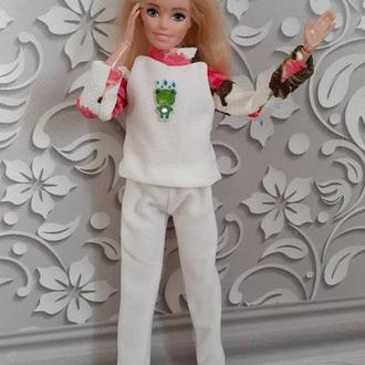 Красивый костюм для кукол Барби. Штаны и кофточка.