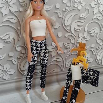 Лосины, топ и шапка для кукол Барби. Набор.