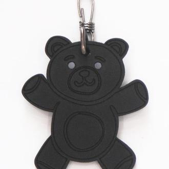 Кожаный черный брелок Тедди от мастерской Wild