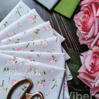 Ткань хлопок винтажные розочки на сером фоне