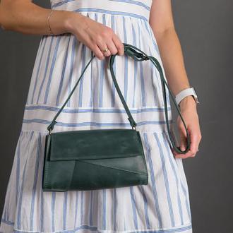 Женская кожаная сумка Френки Вечерняя, винтажная кожа, цвет  зеленый