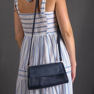 Женская кожаная сумка Френки Вечерняя, винтажная кожа, цвет синий