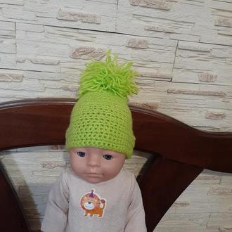 Вязанная шапка для Беби Борн. Одежда для куклы Беби Борн.