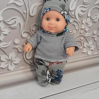 Одежда для пупса Паола Рейна мальчик. Колготки, кофточка, шапка. Набор.